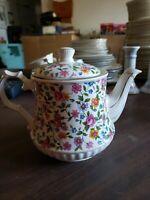 Vintage WINDSOR England Floral China 4 CUP TEAPOT w/Gold Trim