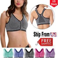 US Women Padded Front Zip Sports Bra Push UP Workout Vest Running Gym Crop Bras