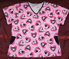 New listing Comfy Cotton Ladies Tuxedo Kittens Print Black White Cats Women's Scrub Top Med