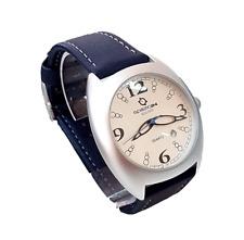 Orologio Pelle Spazio24 Lorica St.John's Quarzo Data Alla Moda Blu Fibbia Baf