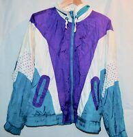 Vintage RE Sport Womens Windbreaker Jacket 90s Coat Blue Purple Color Block XL