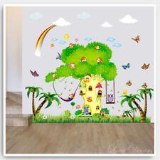 Monkey Tree Wall Stickers Owl Animal Jungle Zoo Nursery Baby Kids Room Decal Art