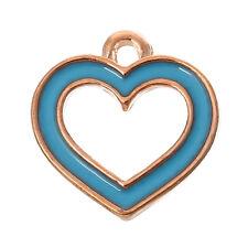 6 PCs Charm Pendants Heart Rose Gold Enamel Lightblue 14mmx13mm LC4903