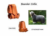 Llavero Piel Auténtica Razas Perros Bearder Collie Hombre Mujer