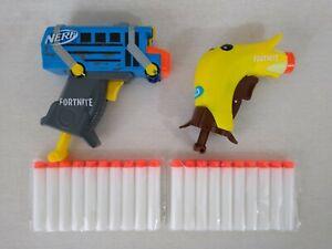 2 Nerf Fortnite MicroShots Gun Blaster Bundle Micro Peely & Battle Bus 20 Bullet