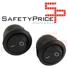 2x Interruttore ON OFF Rotondo Nero PANEL 220v 250v 10A da incasso bottone