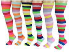 6 Pairs Women Assorted Wide Stripes Colorful Thigh High Over The Knee Socks 9-11