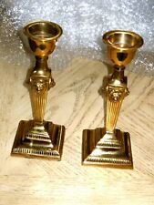 Brass Lion Head Fluted Pair Of 4 Sided Candle Stick Holders Hollywood Regency