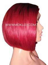 Human Hair Wig Front Lace Short Bob Burgundy Bug Red 1 Black Roots Silk Top UK