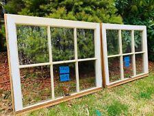 2 - 28 x 23 Vintage Window sash 2 tone White- Beige old 6 pane From 1960s