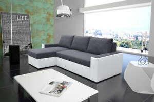 Universal Corner Sofa Bed in Dark Grey / White colour  & two storages
