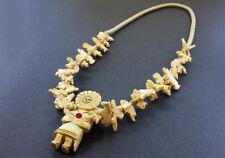 Hand Carved Buffalo Bone Sun Kachina with Mixed Animals Fetish Necklace