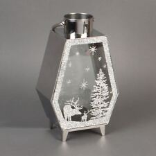 Silver Glitter Christmas Design Tealight Candle Lantern 30cm