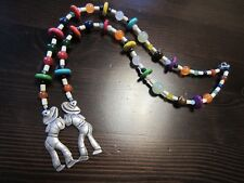 """925 Sterling Silver Signed Beaded Necklace 22""""& MEXICO Silver 2 Men Pendant 39g"""
