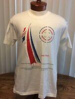 Sanibel Island Florida VTG T Shirt White Single Stitch Embroidered Sailing FOL L