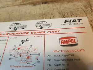 1973 FIAT  130 132 - AMPOL Australia Lubrication Chart