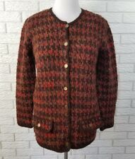 Peruvian Connection Cardigan Sweater M Houndstooth 100% Wool Coin Buttons