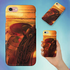BROWN LEATHER HORSE SADDLE IMAGE HARD BACK CASE FOR APPLE IPHONE PHONE