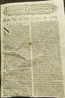 1784 GAZZETTA UNIVERSALE: SPAGNA MASCHERATA PER NASCITA INFANTI CARLO E FILIPPO