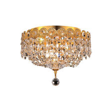 """CRYSTAL FLUSH MOUNT CHANDELIER GOLD BEDROOM BATHROOM HALLWAY KITCHEN 3 LIGHT 10"""""""