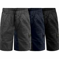 Mens Wrangler Summer Elasticated Waist Cargo Shorts Pure Cotton Relaxed Fit
