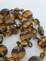 Vintage Art Deco Amber Tiger Striped Glass Flat Round Bead Necklace