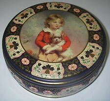 "Vintage Peek Frean & Co Biscuit cookie TIN 8"" round Boy with Dog by C Bremont."