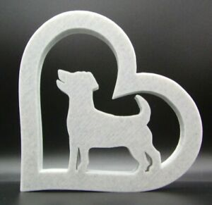Jack Russell Dog In Heart Shape Home Ornament 10x10x1cm - Various Colours