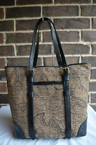 NWT $199 Patricia Nash Map Jacquard Collection Montry Tote Bag Tan Black Brown