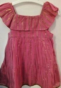 BNWT Baby Girls Toddler Pink & Gold Striped Lined Summer Dress by George 12-18m