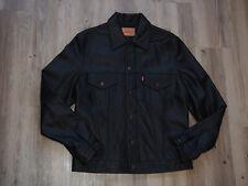 Levis Type 3 Slim Trucker Lederjacke/ Leather Jacket Gr. L SCHWARZ