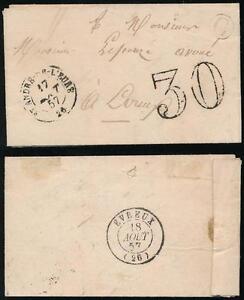 FRANCE 1857 MINIATURE LETTER CACHET DU FACTEUR C + 30c CHIFFRE TAXE to EVREUX