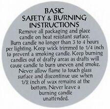 "Safety & Burning Instruction Labels (2-1/2"") for JAR Candles  (Lot of 1000)"