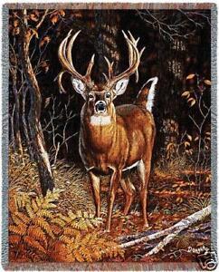 70x53 DEER Buck Wildlife Tapestry Afghan Throw Blanket