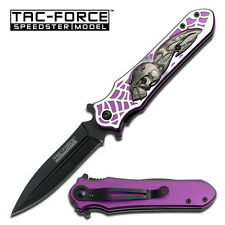 TAC FORCE  Purple Skull Bat Winged Demon Spring Assisted Knife