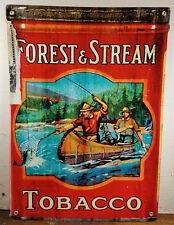 Forest & Stream Tobacco Canadian Men Fishing In Canoe Boat Heavy Metal Adv Sign