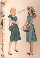 Vtg 1940s Sewing Pattern Simplicity #1937 Size 16 Bust 34 Teen Simple Dress