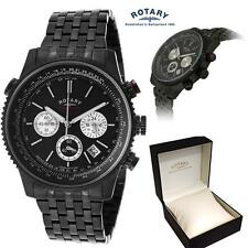 ROTARY MENS BLACK ION WATCH CHRONOGRAPH CHRONOSPEED Ideal Gift Boxed