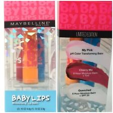Maybelline Baby Lips Lip Balm 3 Pack Set My Pink Cherry Me Quenched New Sealed