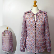 New PER UNA Boho Style EMBELLISHED BLOUSE with CAMISOLE ~ Size 8 ~ Red Mix Print