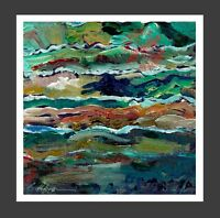 Wolf in Mountains ORIGINAL OIL PAINTING print Abstract Impressionist Landscape