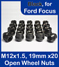 20 x Open Alloy Wheel Nuts for Ford Focus M12 x 1.5, 19mm Hex (Black)