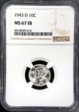 1943 D Mercury Dime certified MS 67 FB by NGC! Full Bands!