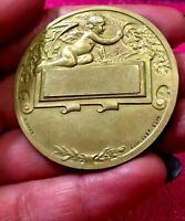 1920s Paris Railway Nude French Angel Art Deco bronze medal by Grun 50mm /train