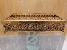 Vintage Mid Century 24K Gold Gilt Plated Tissue Box Holder Matson Style