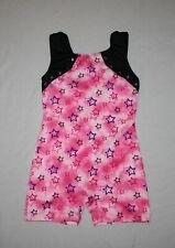 Girl Pink Black Star Danskin Freestyle Biketard Dance Gymnastics Size S 6/6X