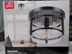 Wexford 3-Light Dark Bronze Semi-Flush Mount Ceiling Light by Globe Electric