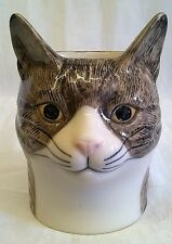 QUAIL CERAMIC TABBY CAT DESK TIDY, PENCIL, PEN, BRUSH POT OR VASE - MILLIE