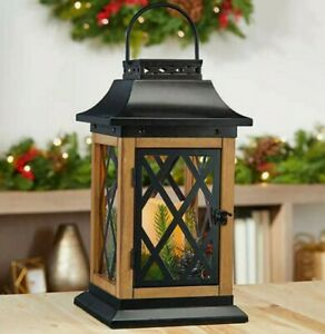 """Lantern 15"""" Decorative Farmhouse Design Wood Metal Lanterns Hanging Candle Gift"""