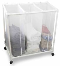 Sunbeam NEW Mesh Laundry Sorting Sorter Basket on Wheels - White - MH10442
